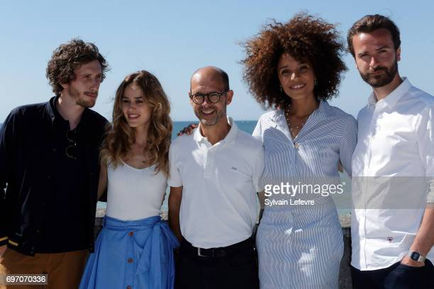 Baptiste Lecaplain Alice David Maurice Barthelemy Stefi Celma Amaury de Crayencour attend 'Les ex' photocall during 4th day of 31st Cabourg Film...