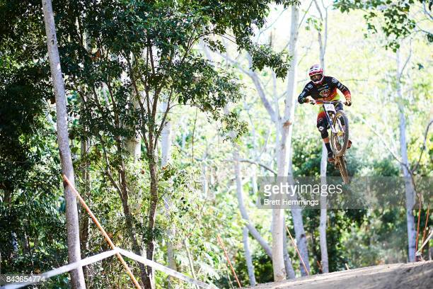 Baptiste Pierron of France rides in a downhill practice session during the 2017 Mountain Bike World Championships on September 7 2017 in Cairns...