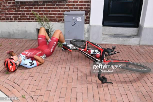 Baptiste Planckaert of Belgium and Team Katusha-Alpecin / Crash / Injury / during the 14th BinckBank Tour 2018, Stage 6 a 182,2km stage from Riemst...