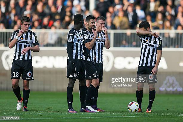 Baptiste Santamaria Nicolas Pepe Thomas Mangani Pierrick Capelle and Yoann Andreu of Angers during the French Ligue 1 match between Angers and Saint...