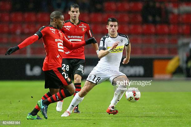 Baptiste Santamaria of Angers during the Ligue 1 match between Stade Rennais and Sco Angers at Stade de la Route de Lorient on November 19 2016 in...