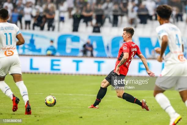 Baptiste SANTAMARIA of Rennes during the Ligue 1 Uber Eats match between Marseille and Rennes at Orange Velodrome on September 19, 2021 in Marseille,...