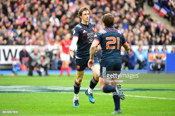 Baptiste Serin of France comes back on to replace Antoine Dupont of France during the RBS Six Nations match between France and Wales at Stade de...