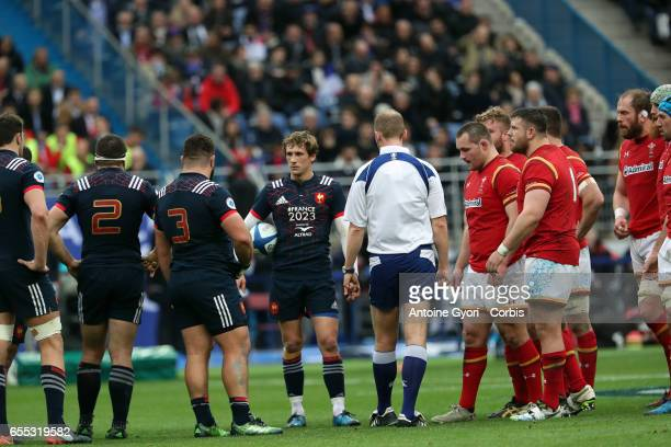 Baptiste Serin with the ball during the RBS 6 Nations rugby match between France and Wales at Stade de France on March 18 2017 in SaintDenis near...