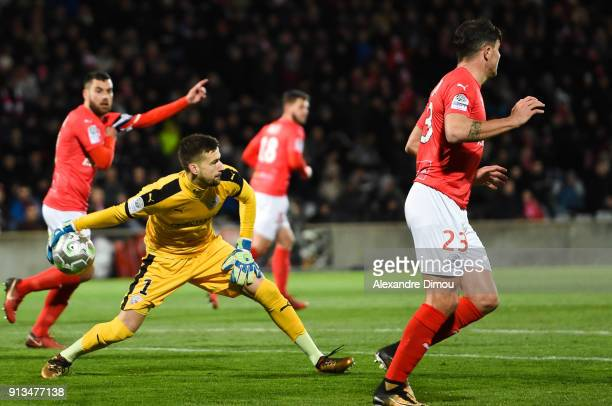 Baptiste Valette of Nimes during Ligue 2 match between Nimes and AC Ajaccio at Stade des Costieres on February 2 2018 in Nimes France