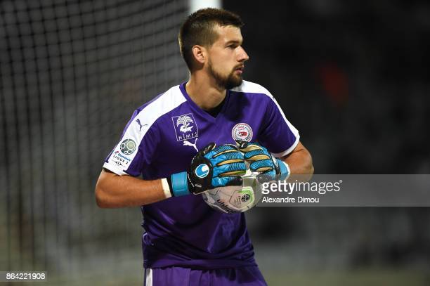 Baptiste Valette of Nimes during the Ligue 2 match between Nimes Olympique and Stade Brestois at on October 20 2017 in Nimes France