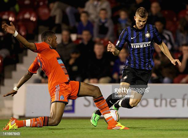 Baptists Aloe of Marseille tackles Samuele Longo of Inter Milan during the NextGen Series SemiFinal match between Inter Milan U19 v Marseille U19 at...