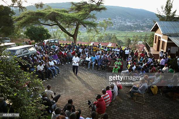 J Baptitse Muremgeranaoma addresses an Ibiganiro byo Kwibuka or 'Meeting of Remembering' of the Byabugogo Cell at the Muhima Sector building April 8...