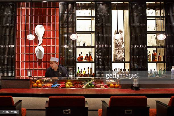 bar and restaurant in a luxury hotel - sushi restaurant stock photos and pictures