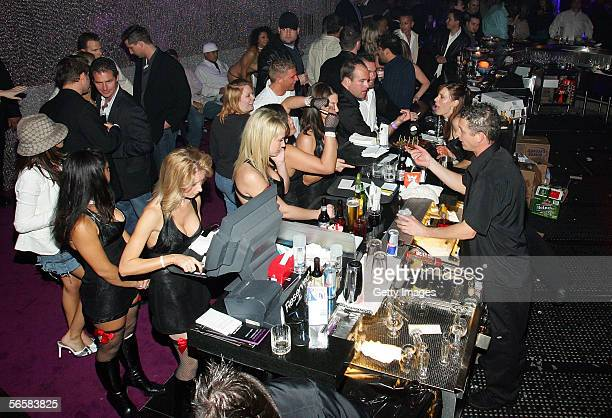 A bar area is shown during the grand opening of the Seamless Adult Ultra Lounge early December 18 2005 in Las Vegas Nevada