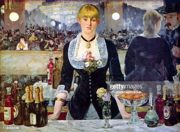 Bar at the Folies Bergere' the artist's last major work Oil on canvas Edouard Manet French artist transition from Realism to Impressionism