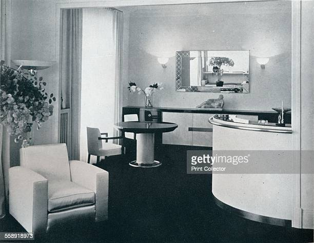 'Bar corner of a dining room designed by Jacques Adnet' c1940 A room designed by Jacques Adnet French Art Deco modernist designer architect and...