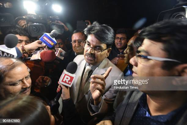 Bar Council of India chairman Manan Kumar Mishra interacts with media person after meeting with Chief Justice of India Dipak Misra at Krishna Menon...