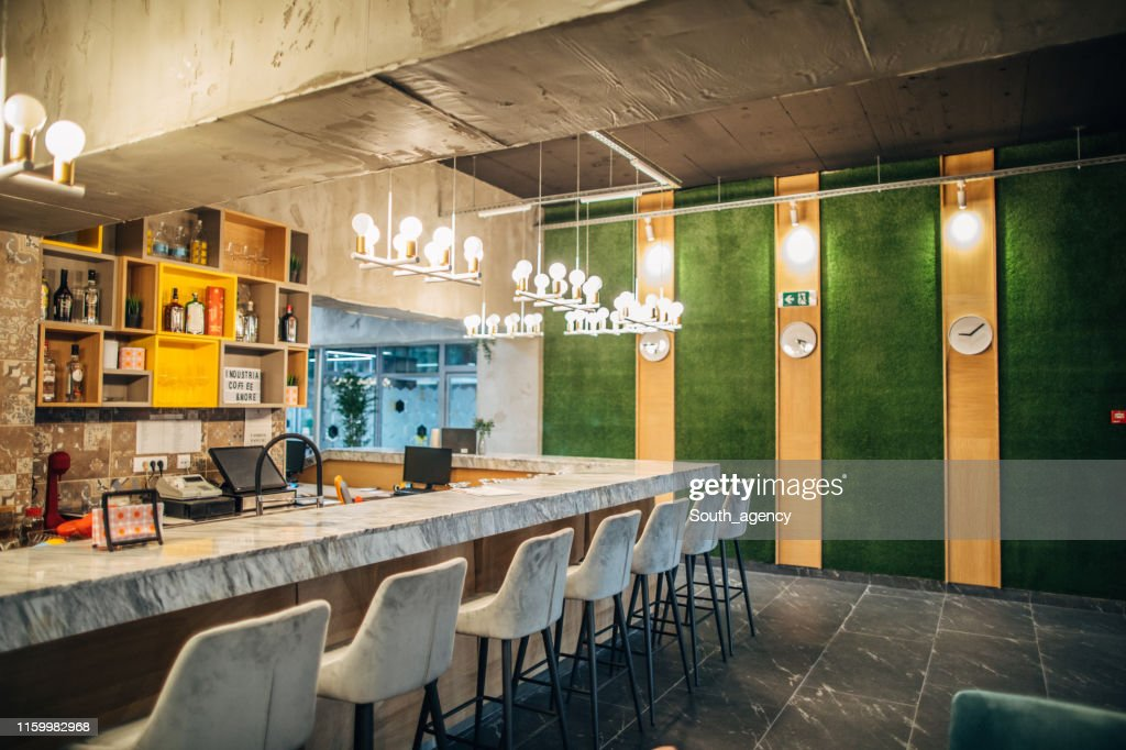 Bar Counter Of Empty Modern Cafe High Res Stock Photo Getty Images