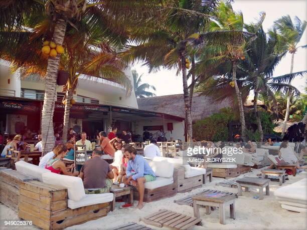 Bar de plage station balnéaire de Playa del Carmen sur le littoral de la mer des Caraïbes dans la péninsule du Yucatan canton de Solidaridad dans...