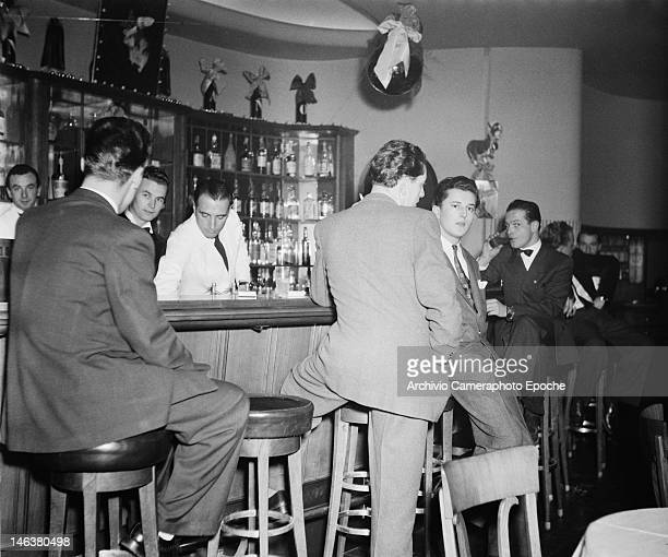 A bar during a festival in Lausanne Switzerland 8th January 1949