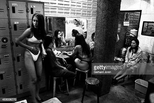 Bar girls and staff relax backstage at the Tahitian Queen GoGo bar on Beach Road in Pattaya Customers can take a girl away from the bar for 500 Baht...