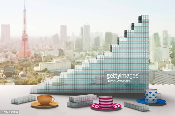 Bar graph made of blocks shaped like office buildings