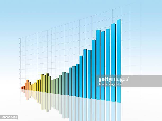 Bar Graph of Upward Trend in Blue Background