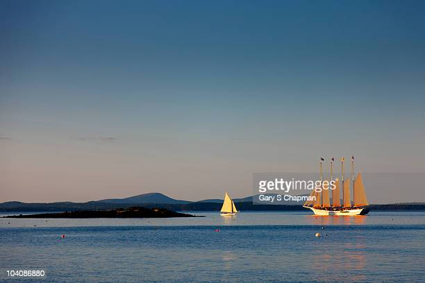 bar harbor, maine at sunrise - bar harbor stock photos and pictures