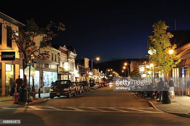 bar harbor night - bar harbor stock photos and pictures