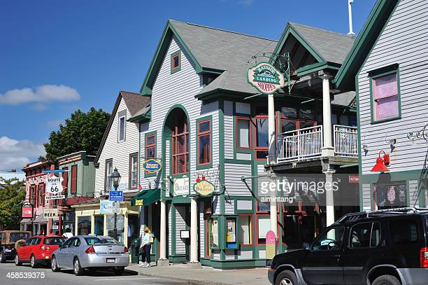 bar harbor street - bar harbor stock photos and pictures