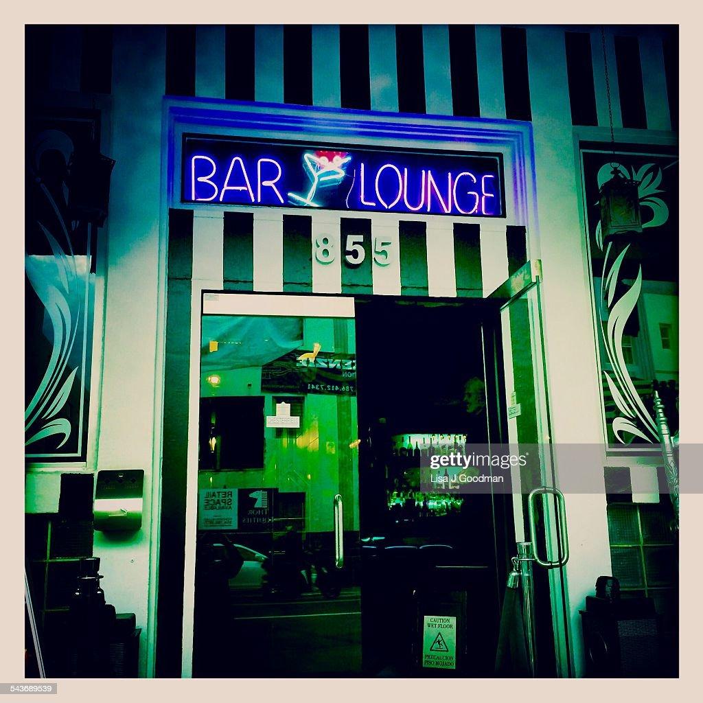 Bar Lounge In Art Deco District Of Miami Florida