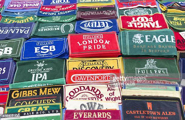 Bar mats are pictured during the opening day of the Great British Beer Festival, organised by the Campaign for Real Ale , in London on August 12,...