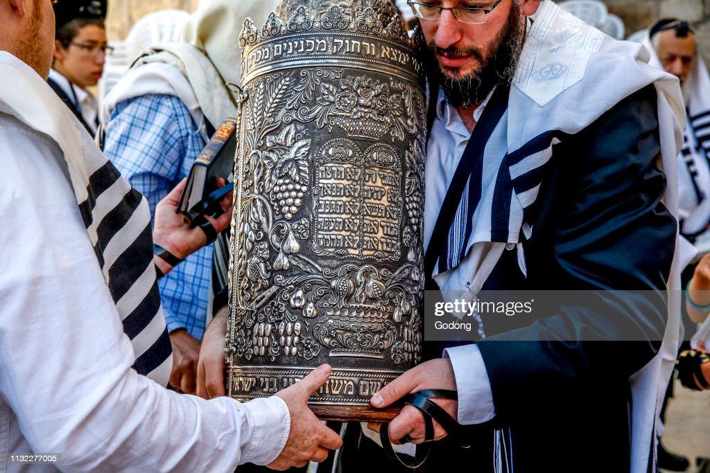 Bar mitsvah at the western wall, Jerusalem, israel. : News Photo