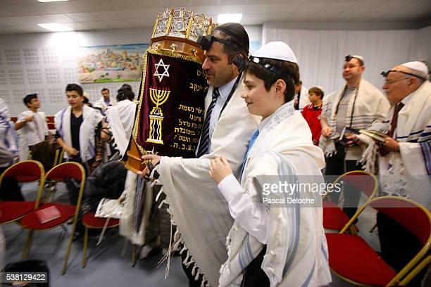 Bar Mitsvah in a synagogue.