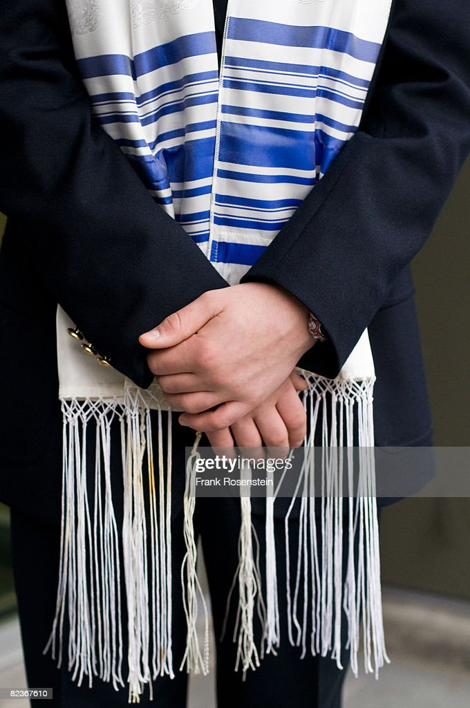 Bar Mitzvah boy wearing a Tallit : Stock Photo