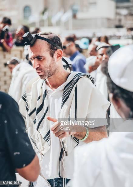 bar mitzvah in jerusalem - jewish prayer shawl stock pictures, royalty-free photos & images