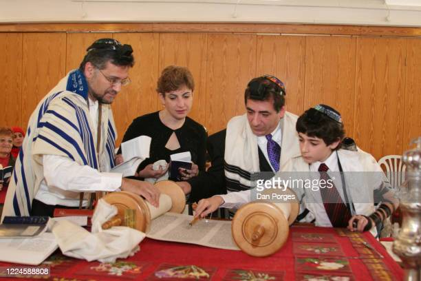 Bar Mitzvah the ceremony which marks manhood for a Jewish boy 13 years old taking place at a Jerusalem synagogue where men and women worship together...