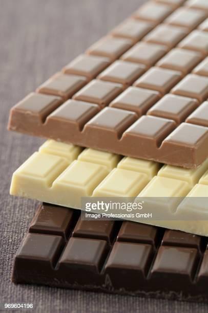 Bar of dark,milk and white chocolate