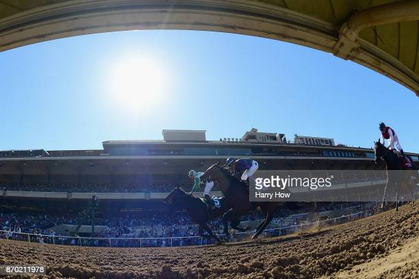 Bar Of Gold ridden by Irad Ortiz Jr beats Ami's Mesa ridden by Luis Contreras Carina Mia ridden by Javier Castellano to win the Breeders' Cup Filly...