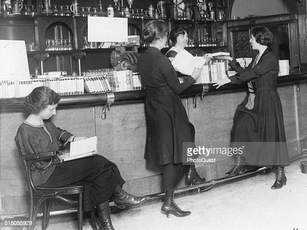 Bar of the Hotel Majestic converted into a library after the advent of Prohibition New York New York early 1920's