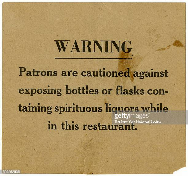 bar or restaurant notice used during prohibition 1927