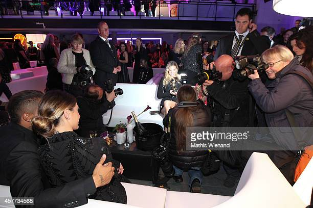 Bar Rafaeli Kevin Prince Boateng and Melissa Satta attend the InTouch Awards 2014 at Port Seven on October 23 2014 in Duesseldorf Germany