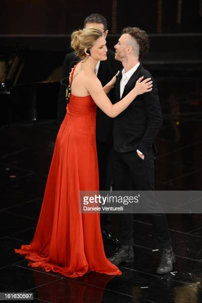 Bar Refaeli and Asaf Avidan attend the second night of the 63rd Sanremo Song Festival at the Ariston Theatre on February 13 2013 in Sanremo Italy