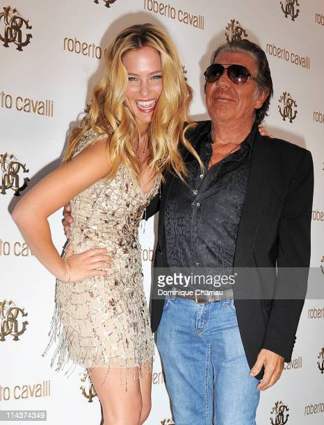 Bar Refaeli and Roberto Cavalli attend the Cavalli Boutique Opening during the 64th Annual Cannes Film Festival on May 18, 2011 in Cannes, France.