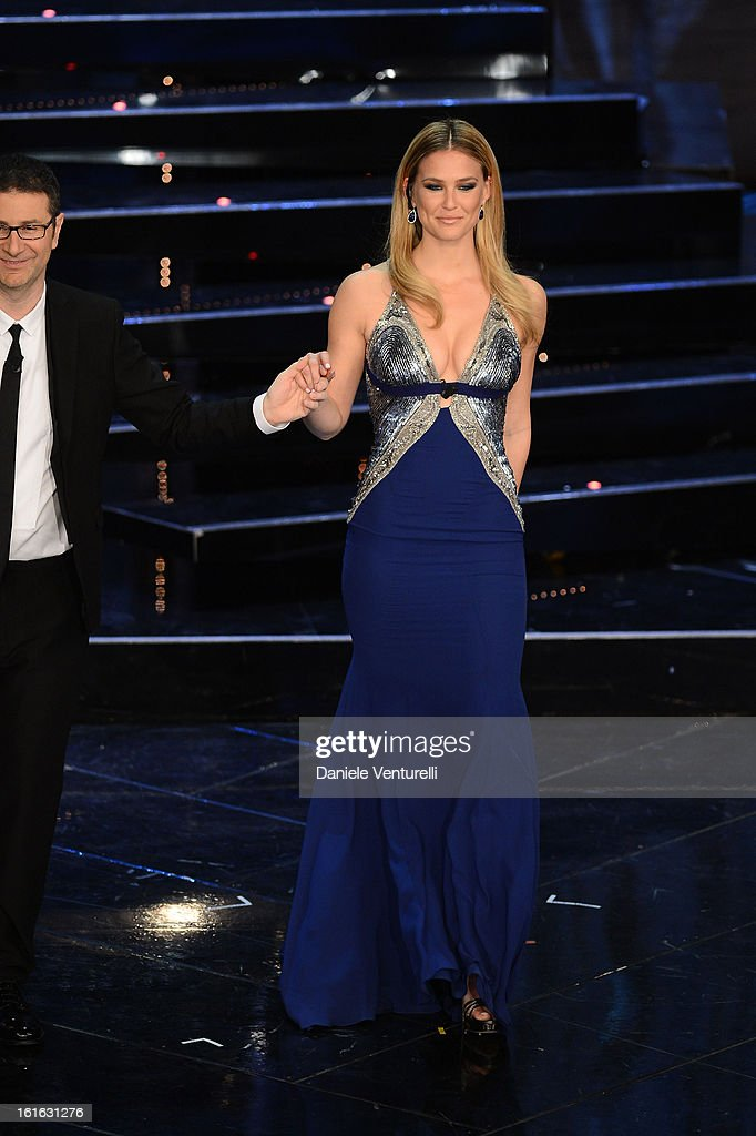 Bar Refaeli attend the second night of the 63rd Sanremo Song Festival at the Ariston Theatre on February 13, 2013 in Sanremo, Italy.