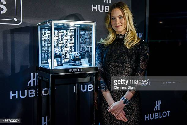 Bar Refaeli attends a Hublot press conference to mark the 10th Anniversary of the iconic Big Bang Collection at the Baselworld 2015 on March 18 2015...