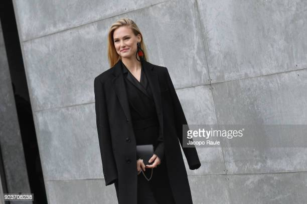 Bar Refaeli attends the Giorgio Armani show during Milan Fashion Week Fall/Winter 2018/19 on February 24 2018 in Milan Italy