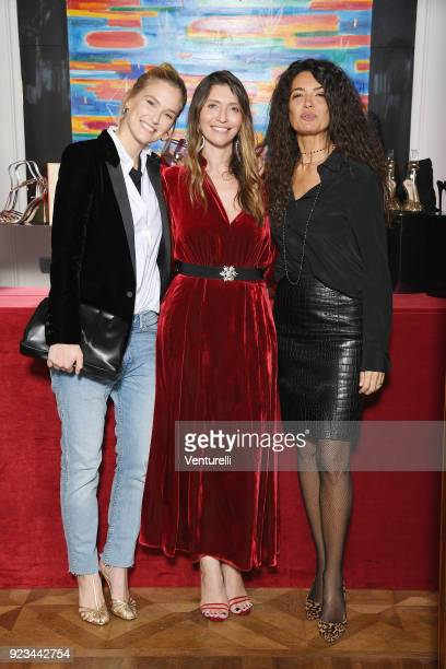 Bar Refaeli Valentina Micchetti and Afef Jnifen are seen at the Alevi' presentation during Milan Fashion Week Fall/Winter 2018/19 on February 23 2018...