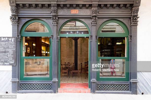 Bar Restaurant in O'Reilly street Entrance an old style architecture building with arched window and door