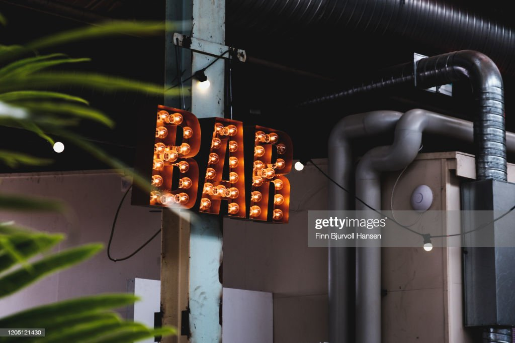 Bar sign with light bulbs : Stock Photo
