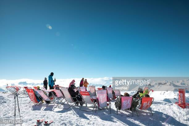 bar with a view - apres ski stock pictures, royalty-free photos & images