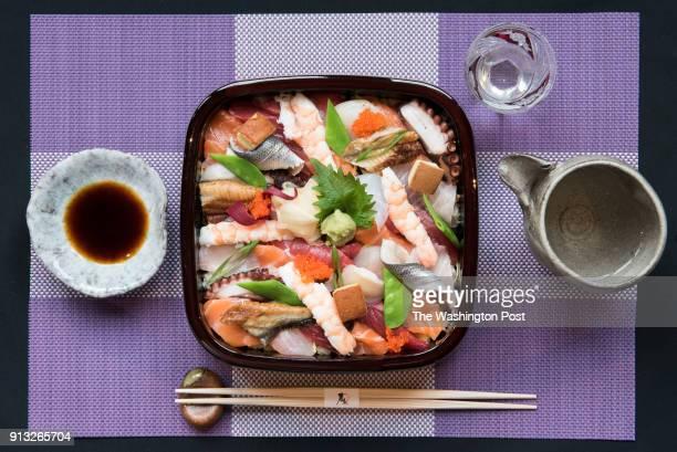 Bara Chirashi set diced, variety of fresh fish & veggies on a bed of sushi rice like jewel box & served w/chawan-mushi at Sushi Taro in Washington,...