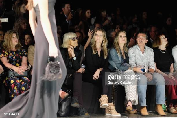 Barabara Hulanicki Barbara Kimpel Nicole Kimpel Antonio Banderas and Designer Rene Ruiz are seen front row at the Angel Sanchez Show during Miami...