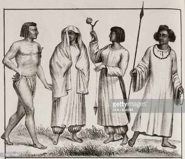 Barabra costumes Nubian people Man of the town of Dongola Sudan Africa lithograph from Galleria universale di tutti i popoli del mondo ossia storia...